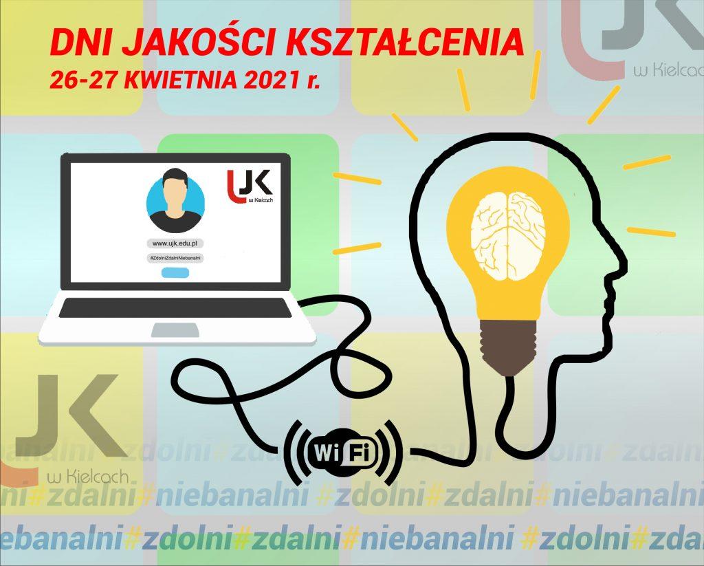Dni jakości kształcenia 26-27 kwietnia 2021r. Laptop i głowa człowieka podłączona do WiFi.